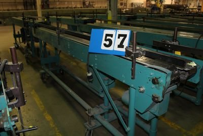 Lot 57 - MCCAIN SADDLESTICH BUNDLE FEEDERS, 10' FEEDER EA W/ RUBBER ROLL TOP CONVEYOR, 1997