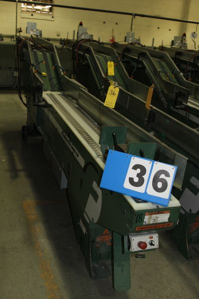 Lot 36 - FAEUILTAULT MDL 3000 SB MAGAZINE FEEDER, 16' L FEEDER W/ STAINLESS STEEL ROLL TOP CONVEYOR &