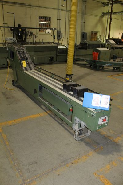 Lot 44 - FAEUILTAULT MDL 3000 SB MAGAZINE FEEDER, 16' L FEEDER W/ STAINLESS STEEL ROLL TOP CONVEYOR &