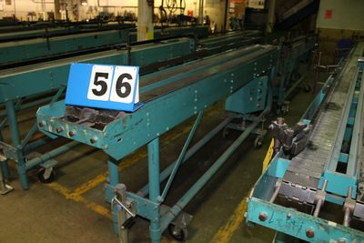 Lot 56 - MCCAIN SADDLESTICH BUNDLE FEEDERS, 10' FEEDER EA W/ RUBBER ROLL TOP CONVEYOR, 1997