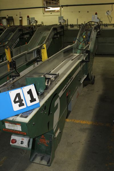 Lot 41 - FAEUILTAULT MDL 3000 SB MAGAZINE FEEDER, 16' L FEEDER W/ STAINLESS STEEL ROLL TOP CONVEYOR &