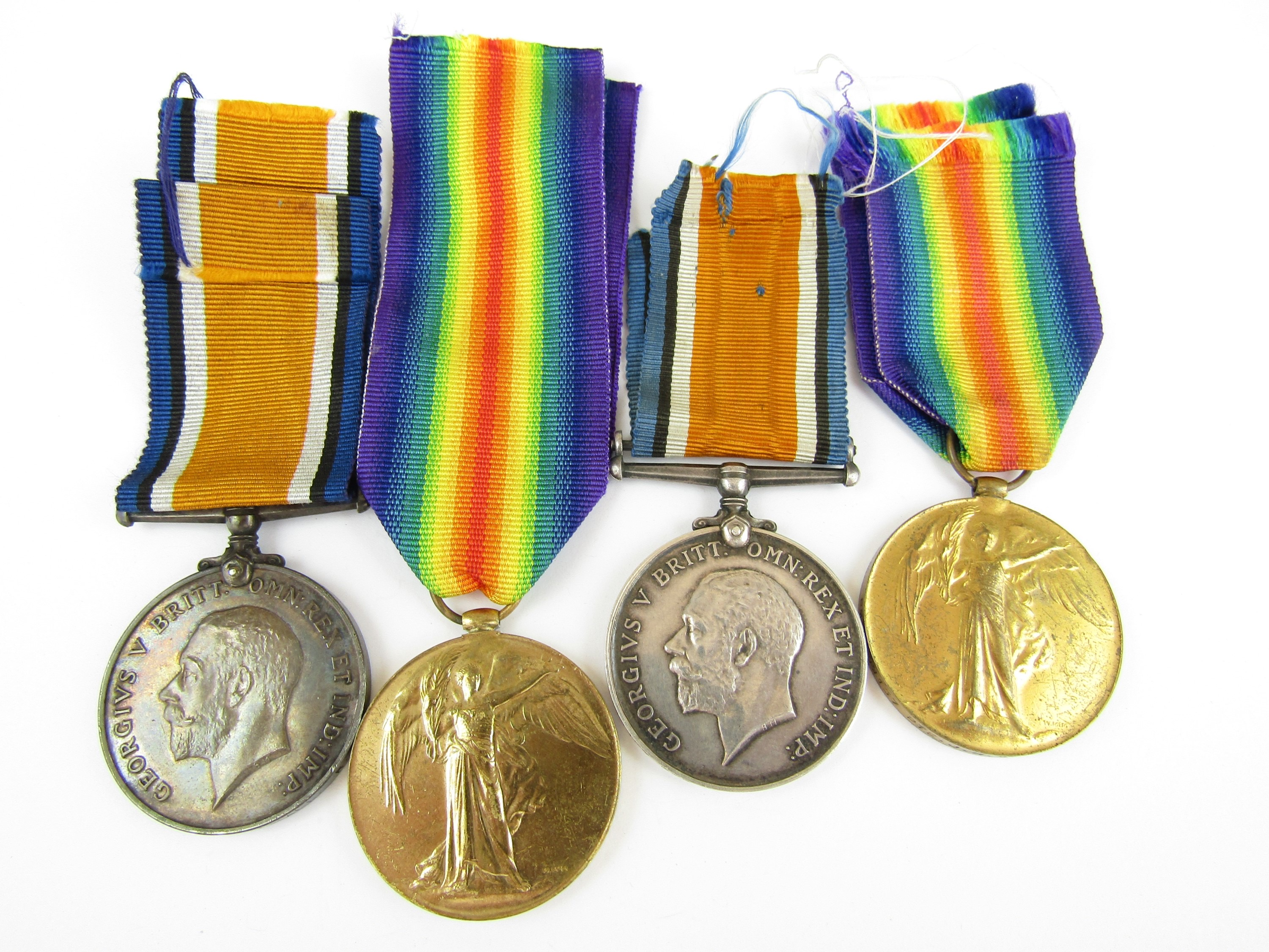 Lot 20 - British War and Victory Medal pairs respectively to DM2-190157 Pte J H Maudsley, ASC and 139628 A-