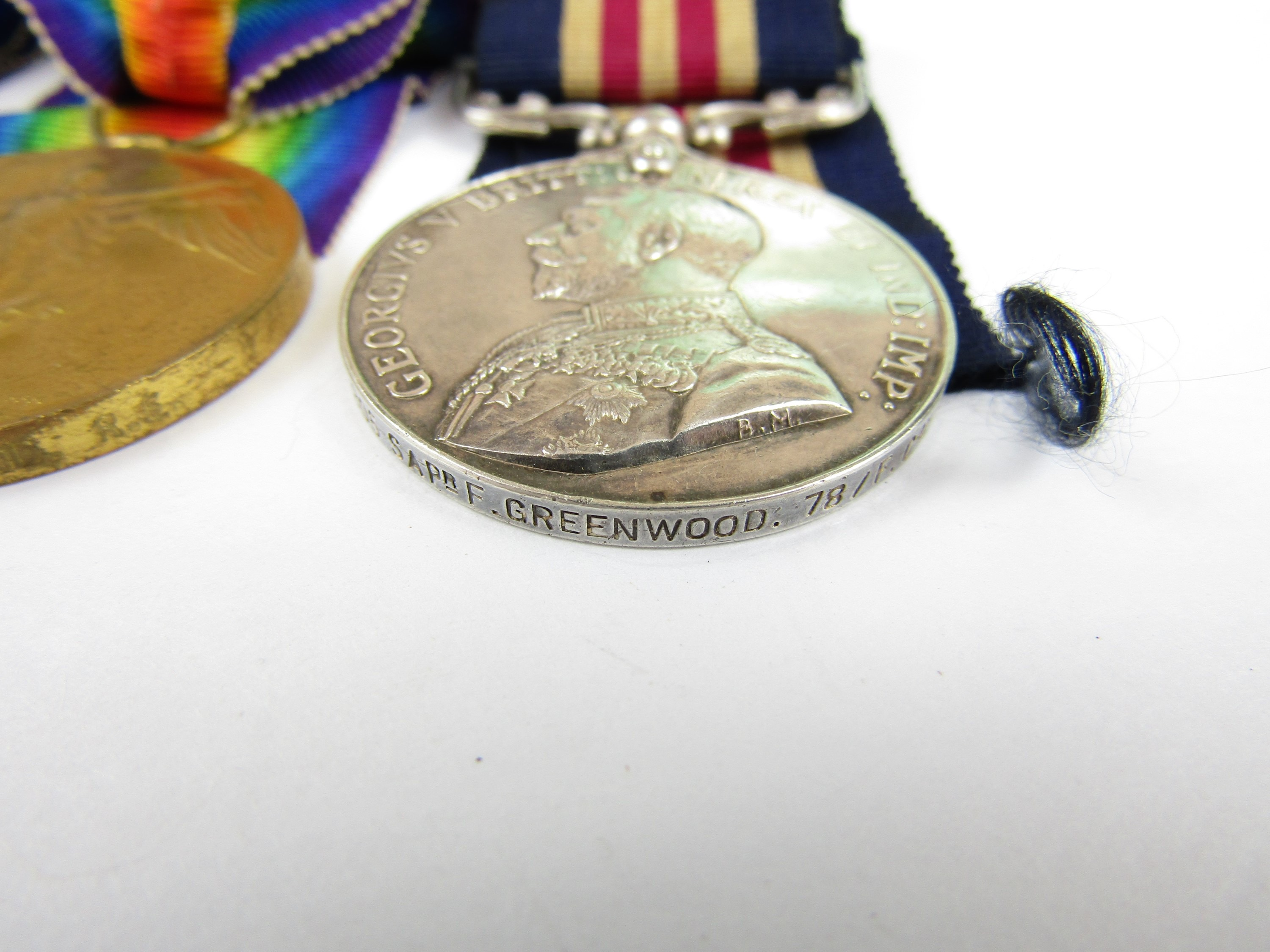Lot 6 - A Military medal, 1914-15 Star and Victory Medals to 101805 Sapper F Greenwood, 78th Field