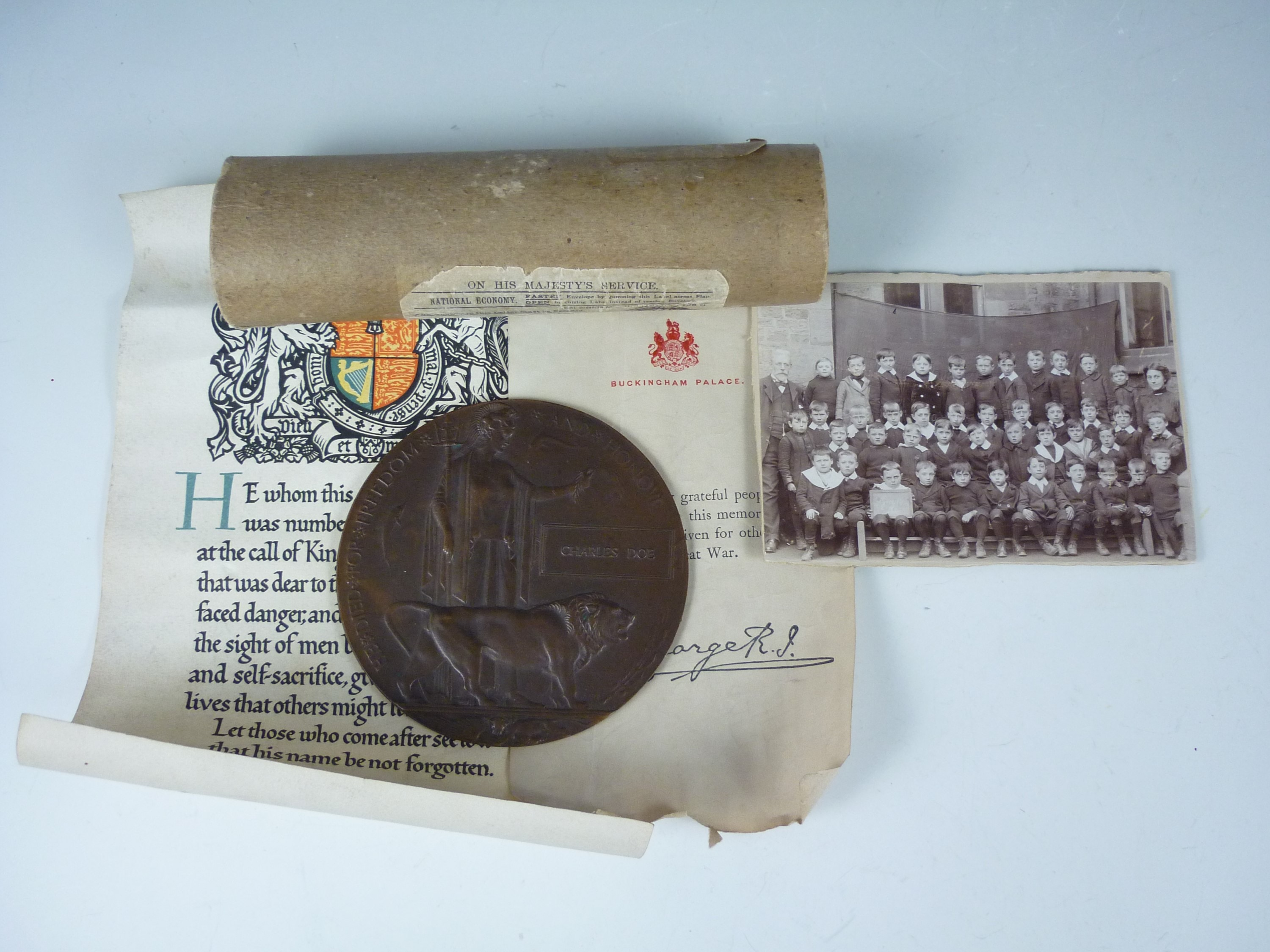 Lot 22 - A Memorial Plaque, scroll and condolence document of Private Charles Doe, Royal Fusiliers