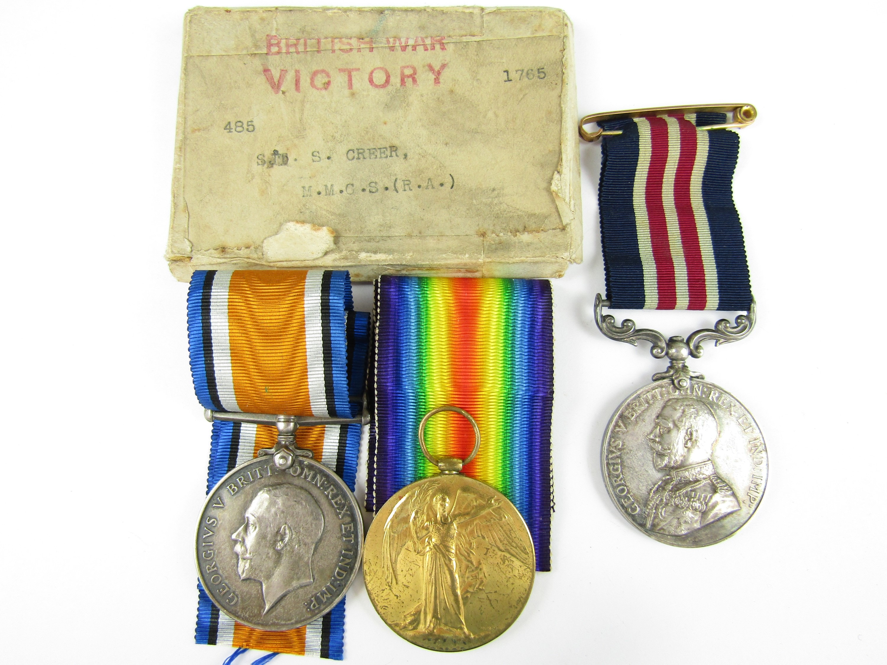 Lot 8 - A Military Medal with British War and Victory Medals to 485 Sjt / A Bmbr S Creer, No 8 Battery,