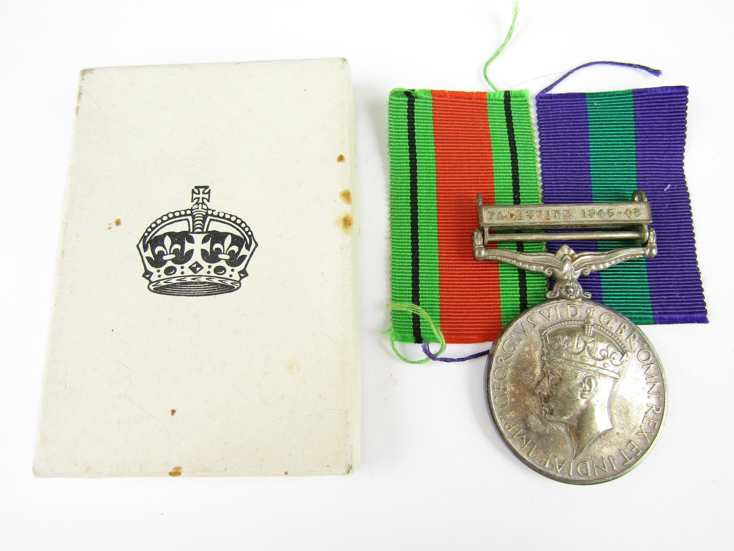 Lot 9 - A General Service Medal with Palestine 1945-48 clasp to Mrs C Peyton
