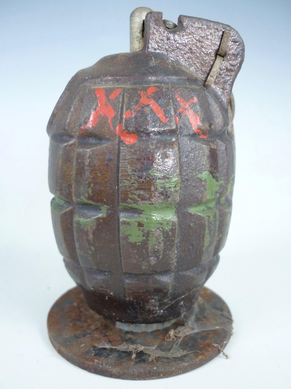 Lot 55 - An inert Second World War No 36 (Mills) Grenade with gas check