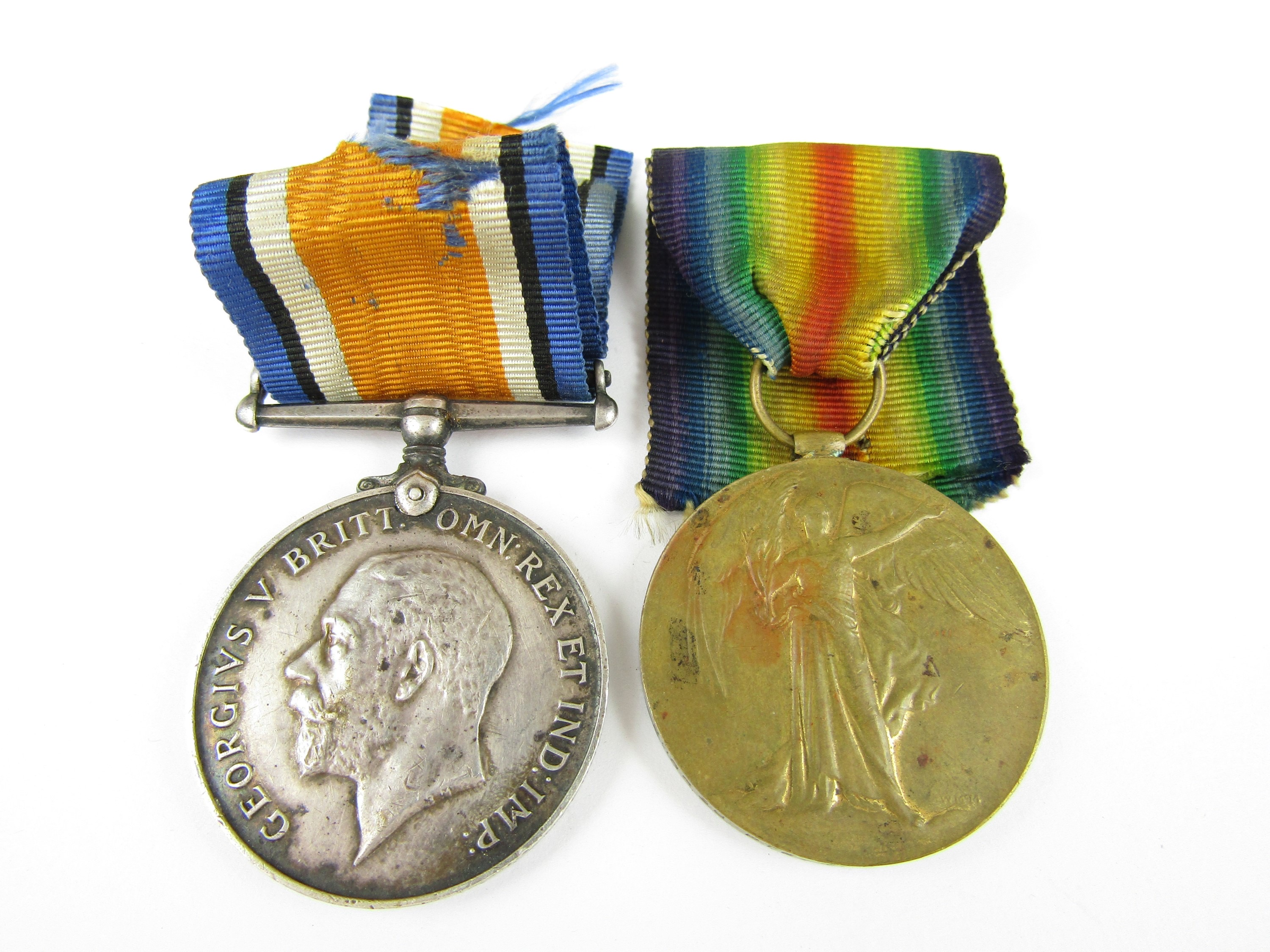 Lot 21 - British War and Victory Medals to 205638 Pte R Park, Lancashire Fusiliers