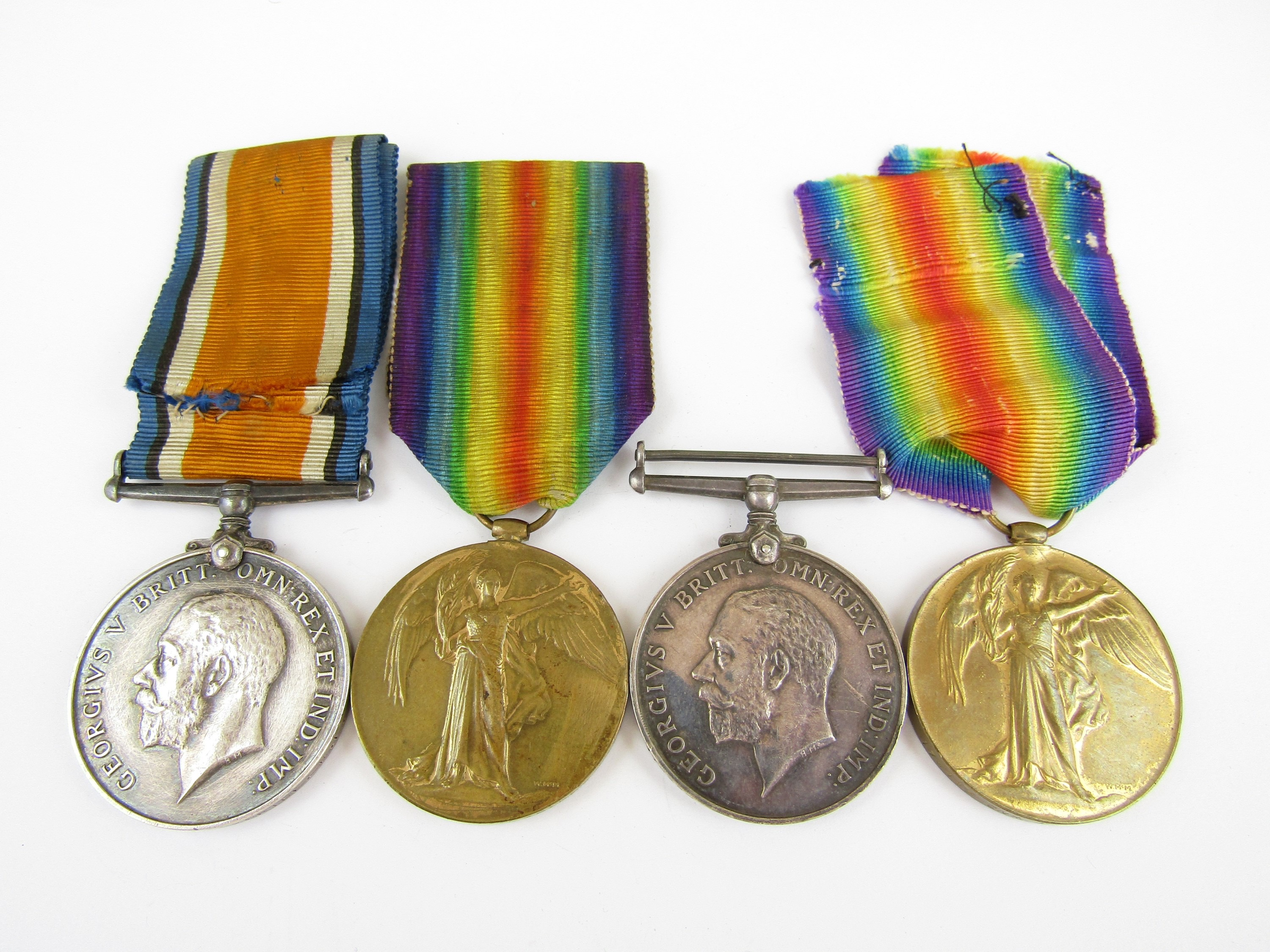 Lot 19 - British War and Victory Medal pairs respectively to 201803 Spr W Kirkbride, RE, and 178445 Gnr A