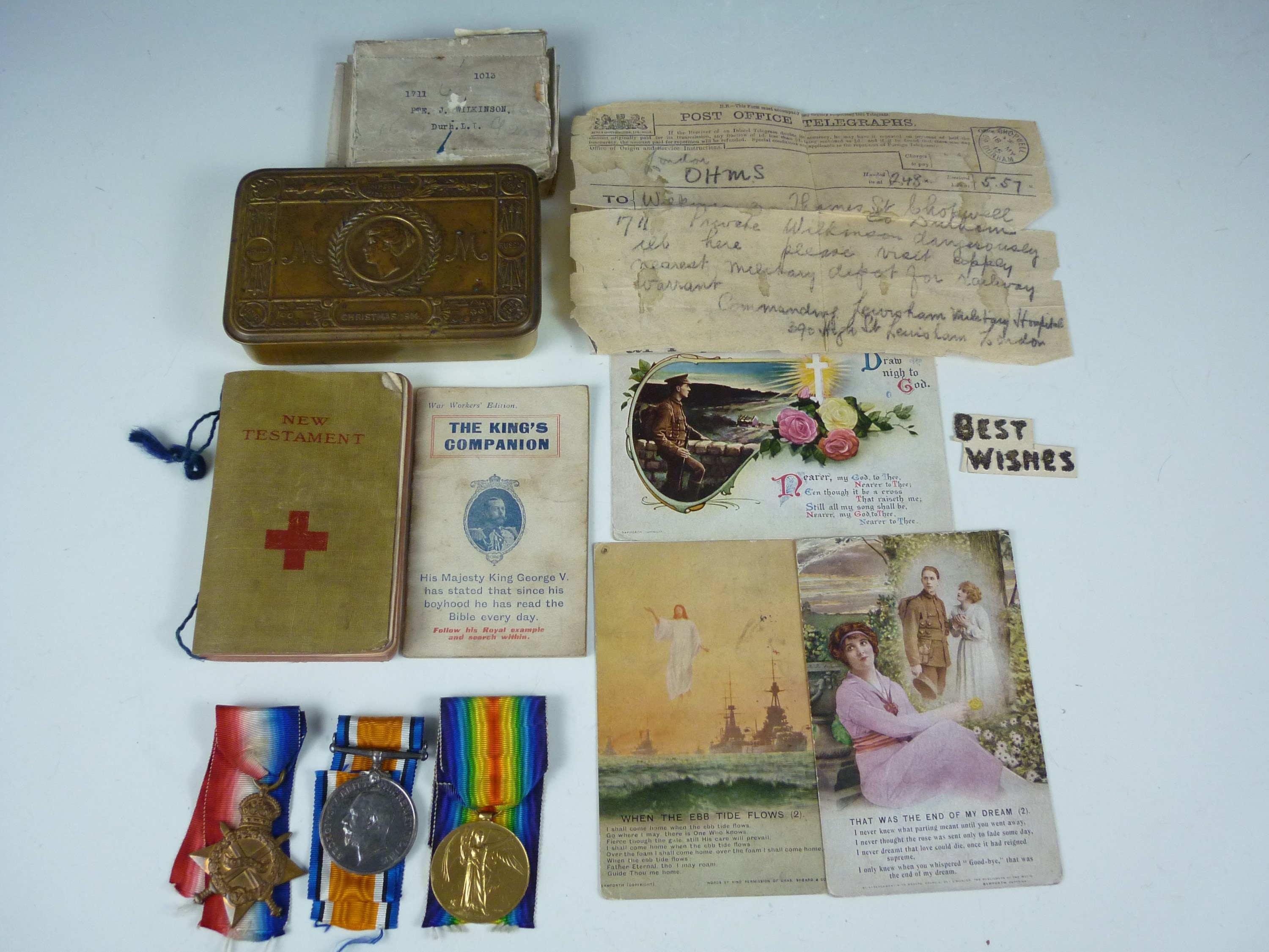 Lot 7 - A 1914-15 Star, British War and Victory Medals to 1711 Pte J Wilkinson, Durham Light Infantry,