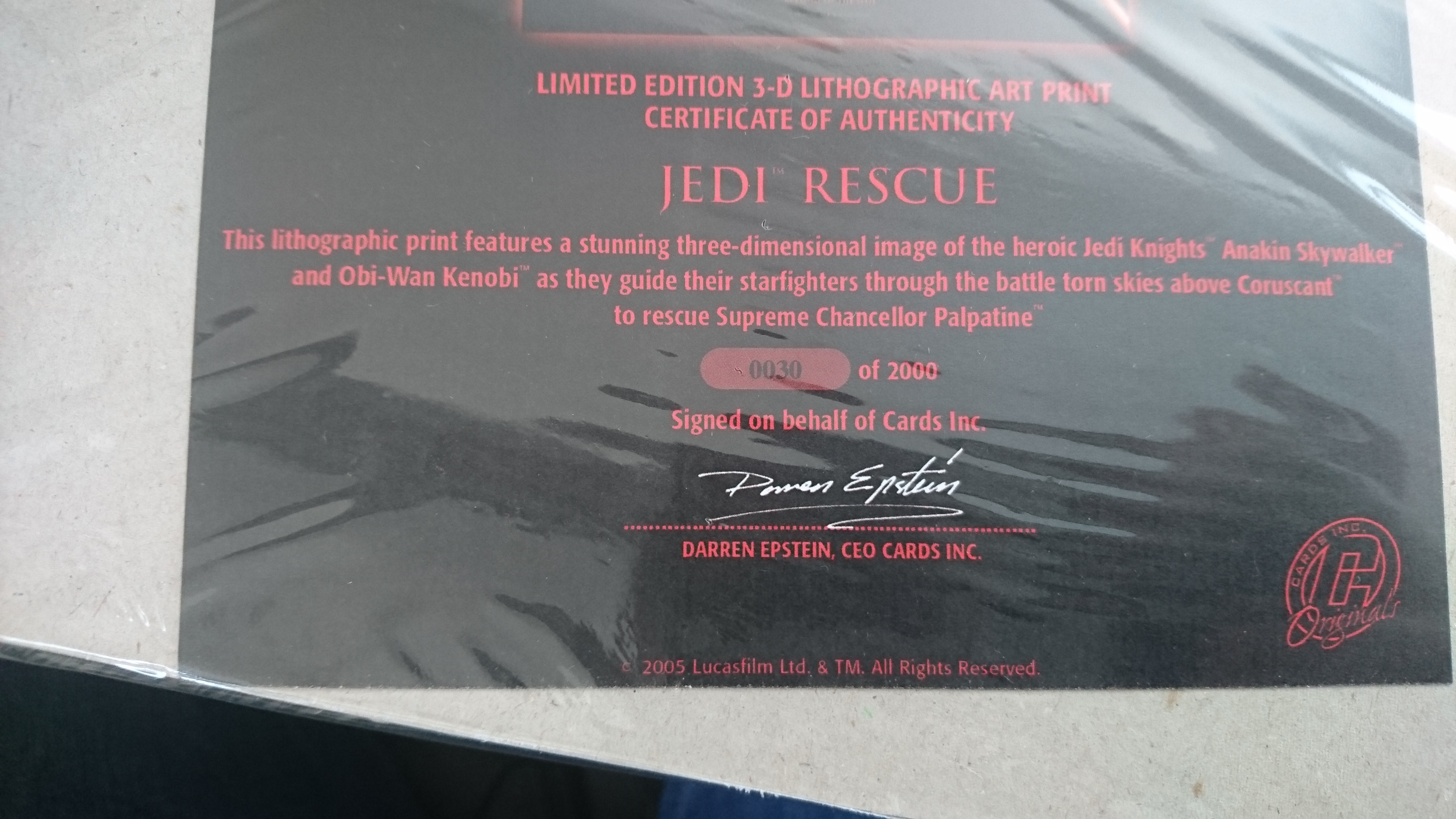 limited edition print certificate of authenticity template - limited edition star wars 3d lithographic print with