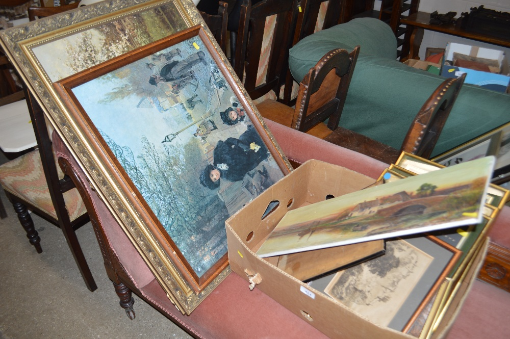 Lot 414 - A large gilt framed oleograph depicting a country