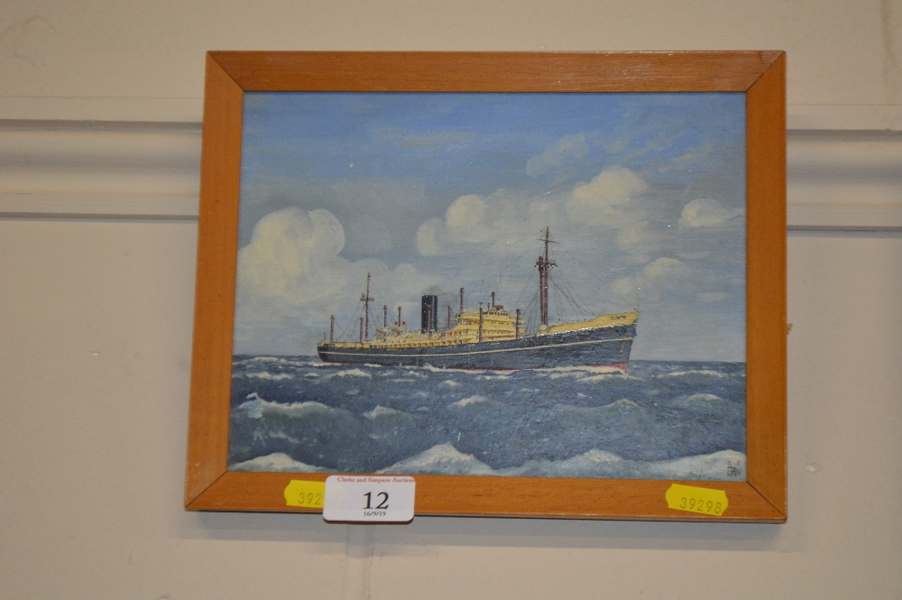 Lot 12 - A small framed oil on board study depicting a stea