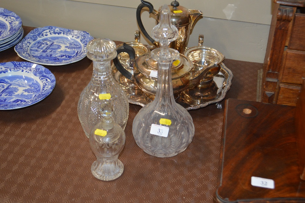 Lot 33 - Two 19th Century glass decanters; and a small glas