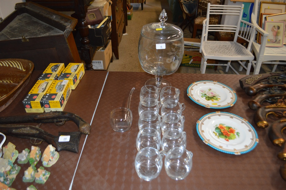 Lot 6 - An etched glass pedestal punch bowl, with a set of