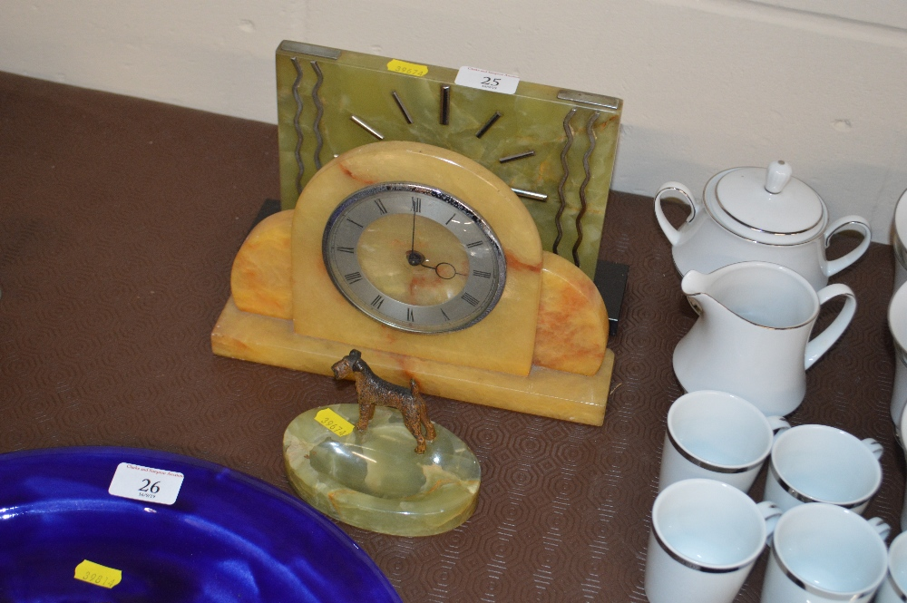 Lot 25 - Two Art Deco mantel clocks and an onyx ash tray