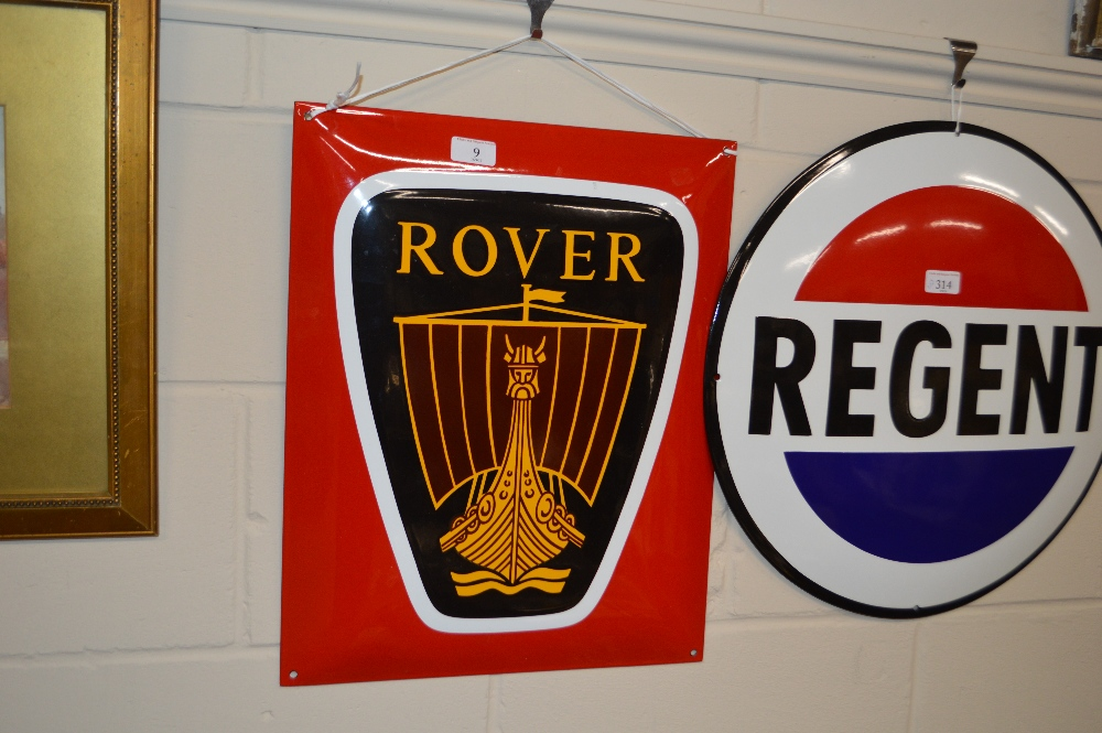 Lot 9 - An enamel Rover advertising sign