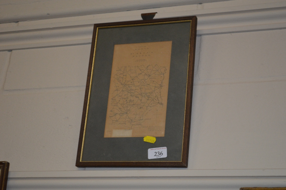 """Lot 236 - A farmed and glazed map depicting """"The Meets of Mr"""