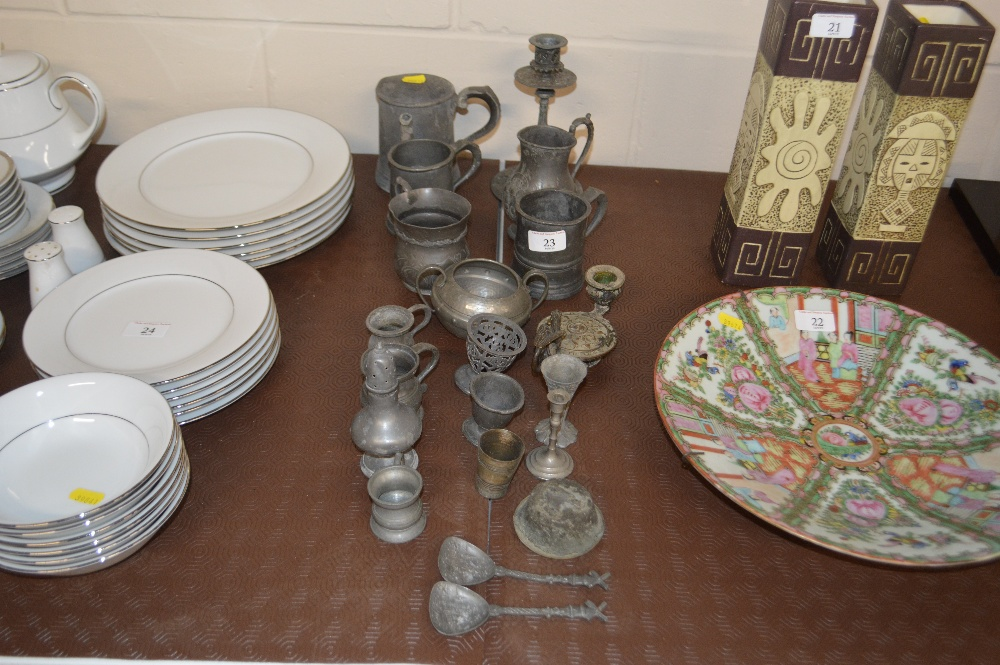 Lot 23 - A quantity of mostly antique pewter to include tan