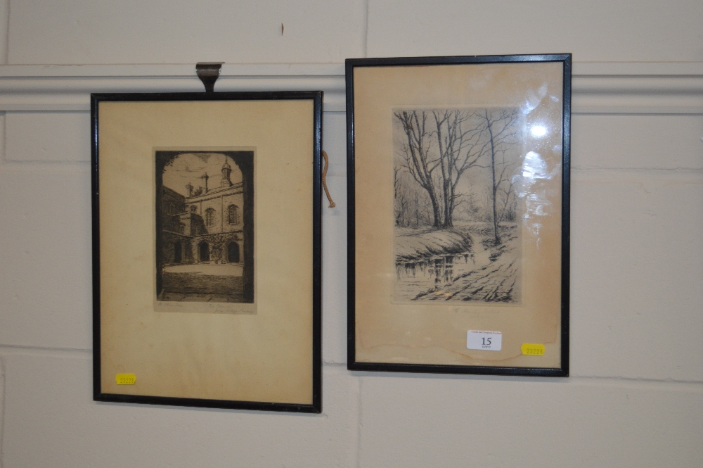 Lot 15 - Two framed pencil signed black and white etchings