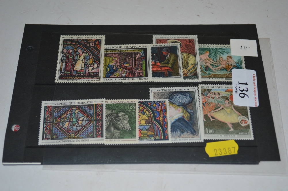 Lot 136 - French mint art stamps on two stock cards, plus on