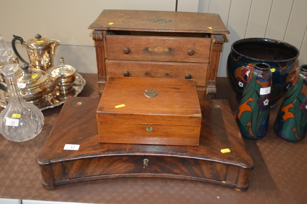 Lot 32 - An oak table top three drawer chest; a 19th Centur