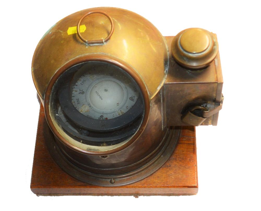 Lot 40 - A ships brass cased binnacle compass
