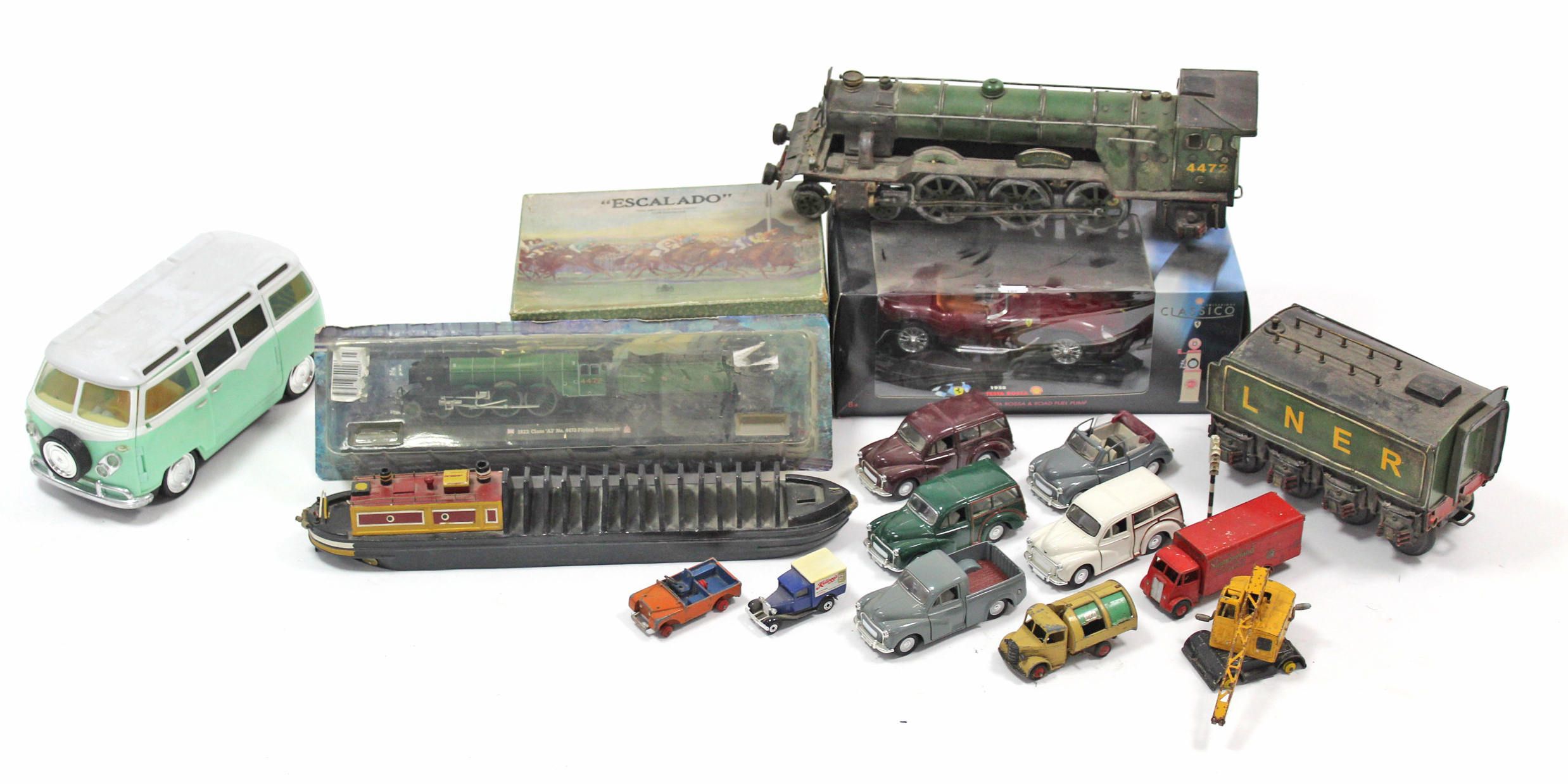"""Lot 109 - A Chad Valley """"Escalado"""" horse-racing game (incomplete), boxed; & various toy model vehicles."""