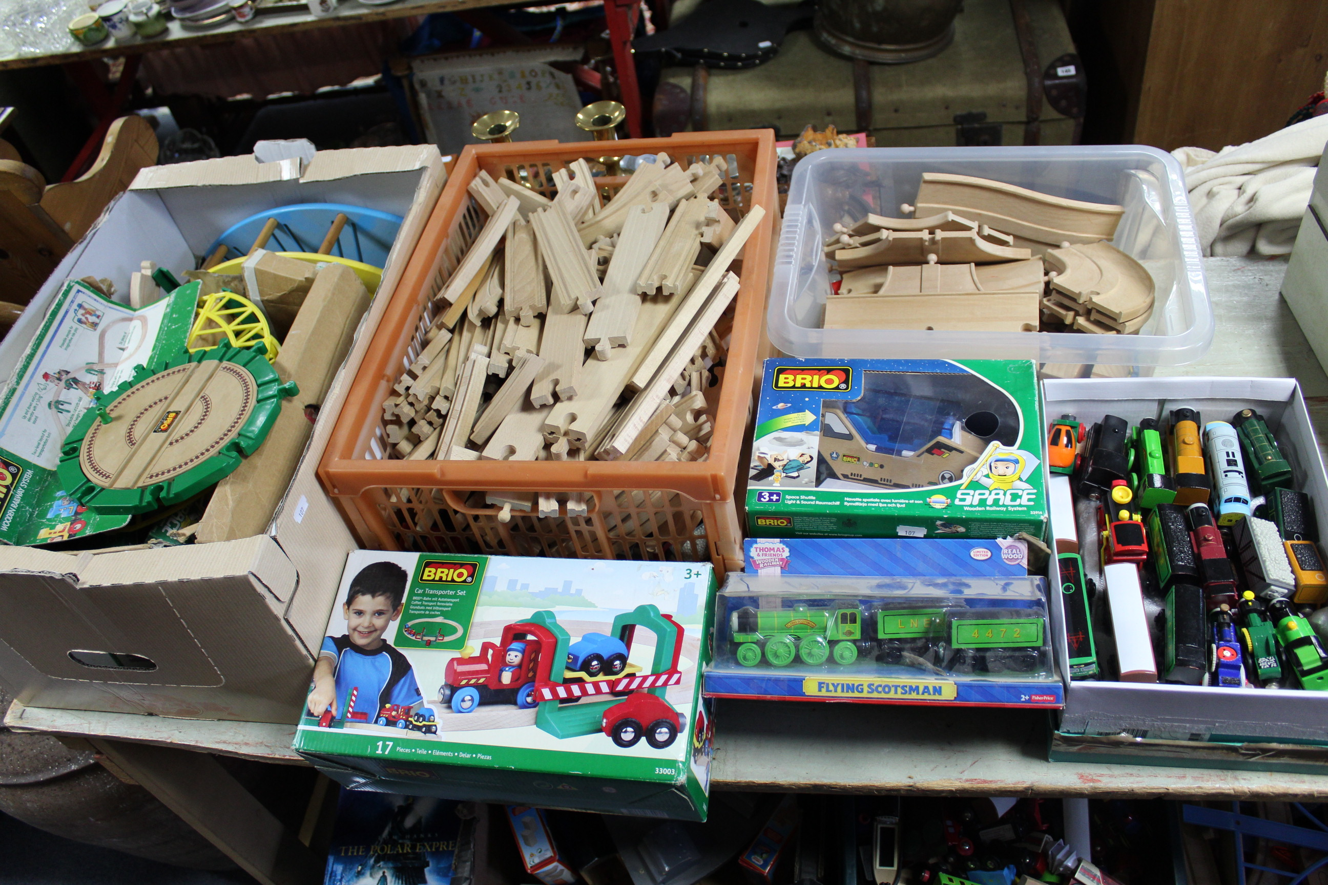 """Lot 107 - A large quantity of Brio wooden child's train set items; & various Fisher Price """"Thomas The Tank"""