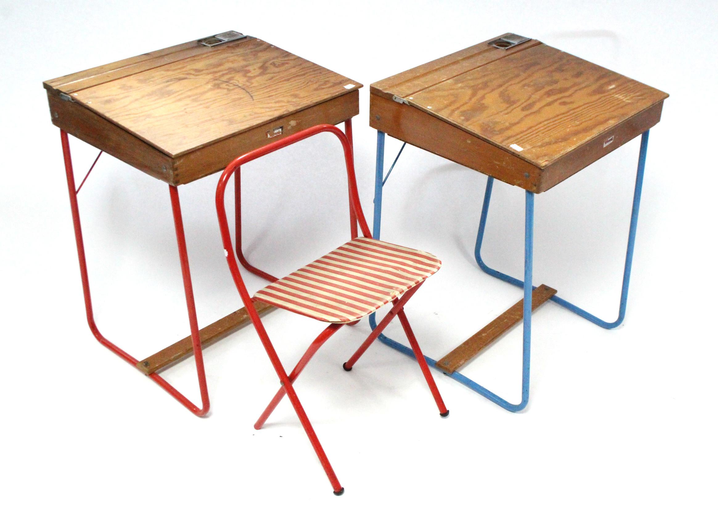 Lot 241 - Two Tri-ang tubular-metal & wooden child's desks; & a tubular-metal folding child's chair.
