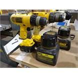 LOT: (2) Dewalt Model DW991 & DW928 VSR Cordless Drill/Drivers, with (4) Batteries & (2) Chargers