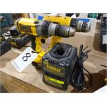 LOT: (2) Dewalt Model DC983 & DW928 Cordless Drill/Drivers, with (2) Batteries & (2) Chargers