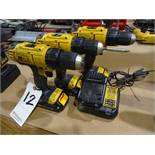 LOT: (2) Dewalt Model DCD771 Cordless Drill/Drivers, with (3) Batteries & (1) Charger