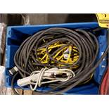 PALLET OF EXTENSION CORDS, 120 & 240 V, POWER STRIP CORDS, OVERHEAD CONE LIGHTS