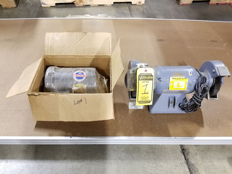 BALDOR 6'' DOUBLE END BENCH GRINDER,5-HP, 3,600 RPM, BRUSH/STONE ENDS, 3420C FRAME & NEW BALDOR 1 - Image 2 of 4