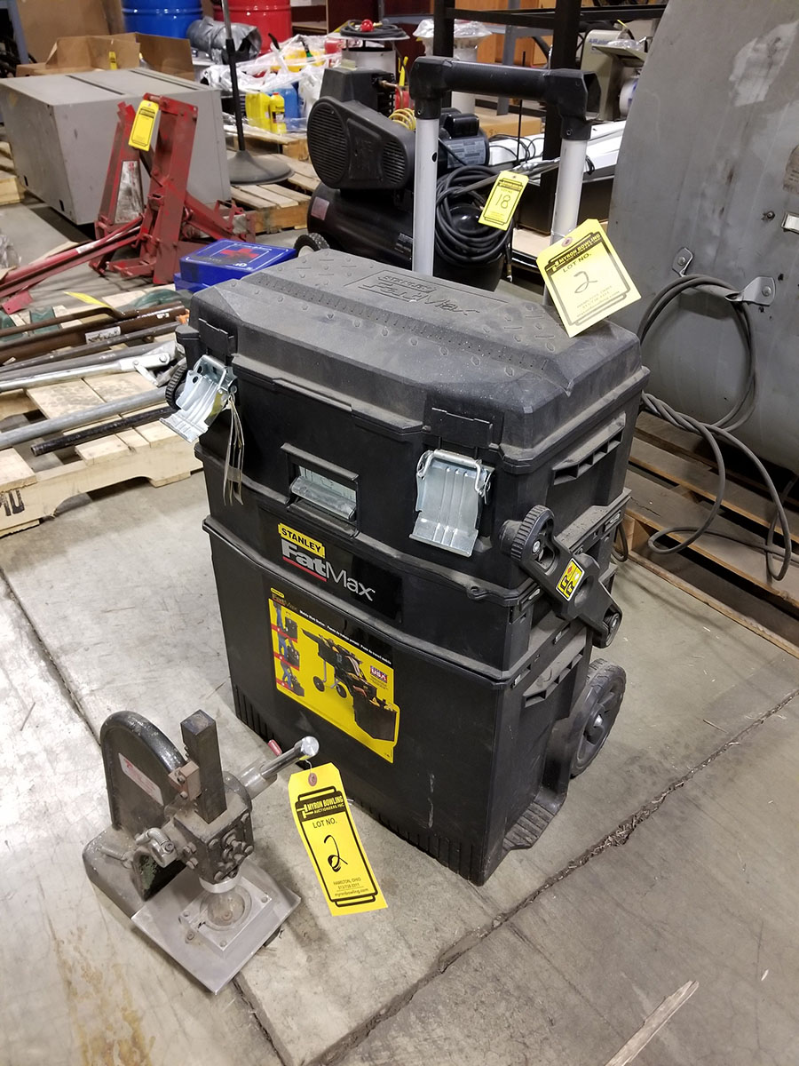 DAYTON 1-TON ARBOR PRESS, 4'' THROAT & STANLEY FAT MAX MOBILE WORKSTATION, LADDER TYPE FOLD OUT