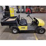 EZ-GO ELECTRIC GOLF CART, YELLOW, DUMP BED, PNEUMATIC TIRES, FLOOR HORN, 110V CHARGE