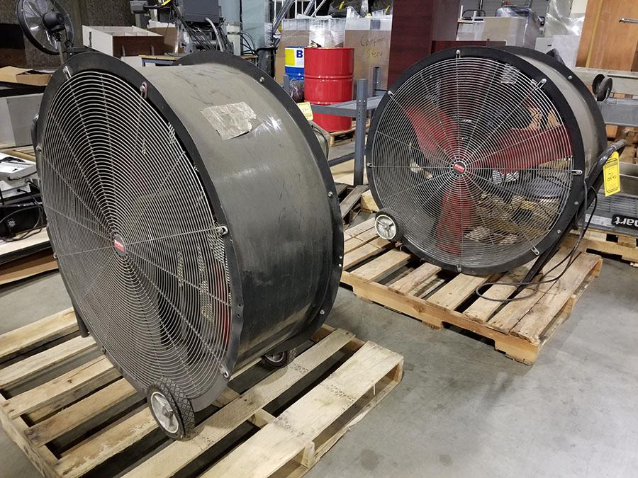 (2) DAYTON 36'' MOBILE AIR CIRCULATORS,MODEL 3C674D, 825 RPM, 1/2 HP