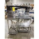 (3) RUBBERMAID ROLLING PLASTIC SHOP CARTS & (1) 3-STEP ROLLING STEP LADDER