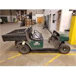 EZ-GO ELECTRIC GOLF CART, GREEN, DUMP BED, PNEUMATIC TIRES, FLOOR HORN, 110V CHARGE