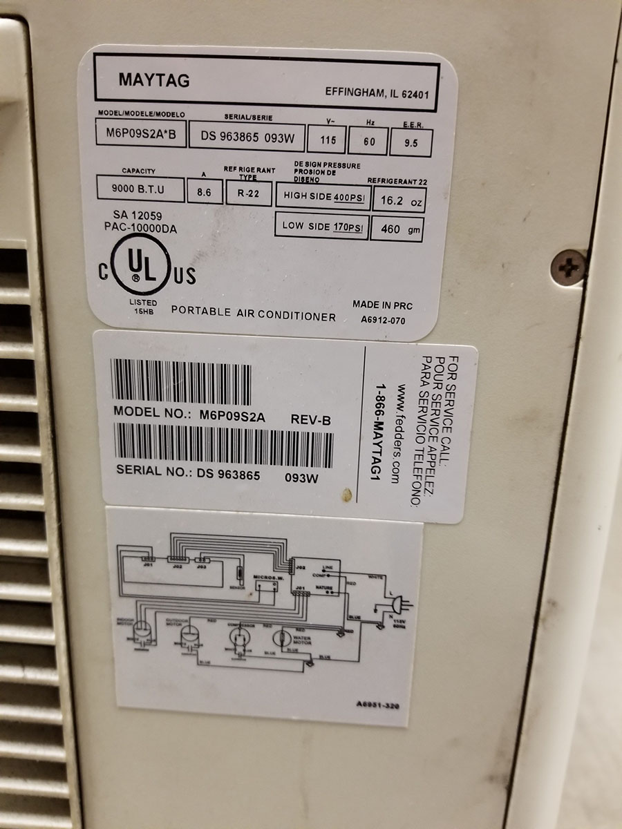 MAYTAG PORTABLE AIR CONDITIONER, MODEL M6P09S2A-B, 9,000 BTU CAPACITY, S/N DS963865 - Image 3 of 6