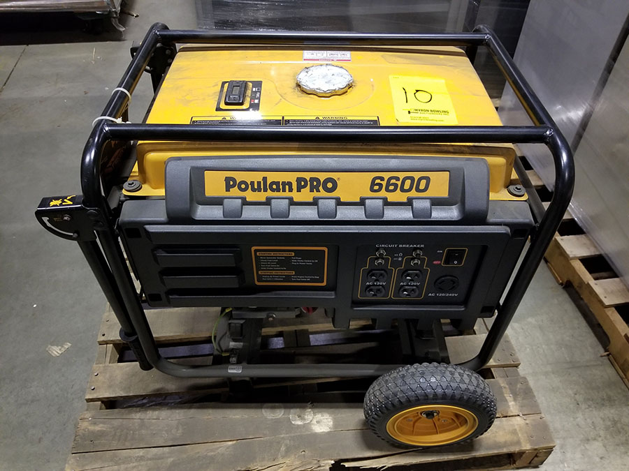 POULAN PRO 6600 PORTABLE GENERATOR- (4) 110V PLUGS, (1) 120/240V, GAS POWERED, MODEL PP6600, S/N