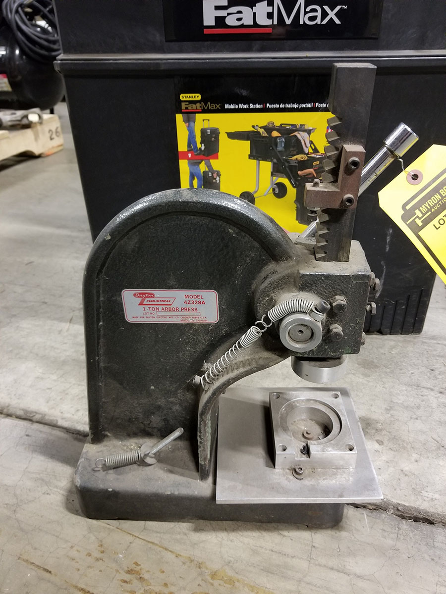 DAYTON 1-TON ARBOR PRESS, 4'' THROAT & STANLEY FAT MAX MOBILE WORKSTATION, LADDER TYPE FOLD OUT - Image 2 of 6