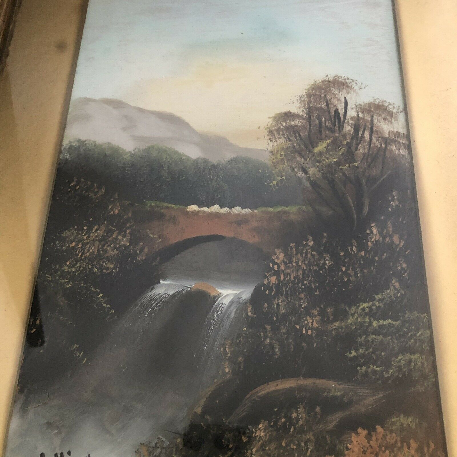 Lot 47 - Original Signed Antique 19th C. Oil on Board Painting Signed W COLLINS Waterfall