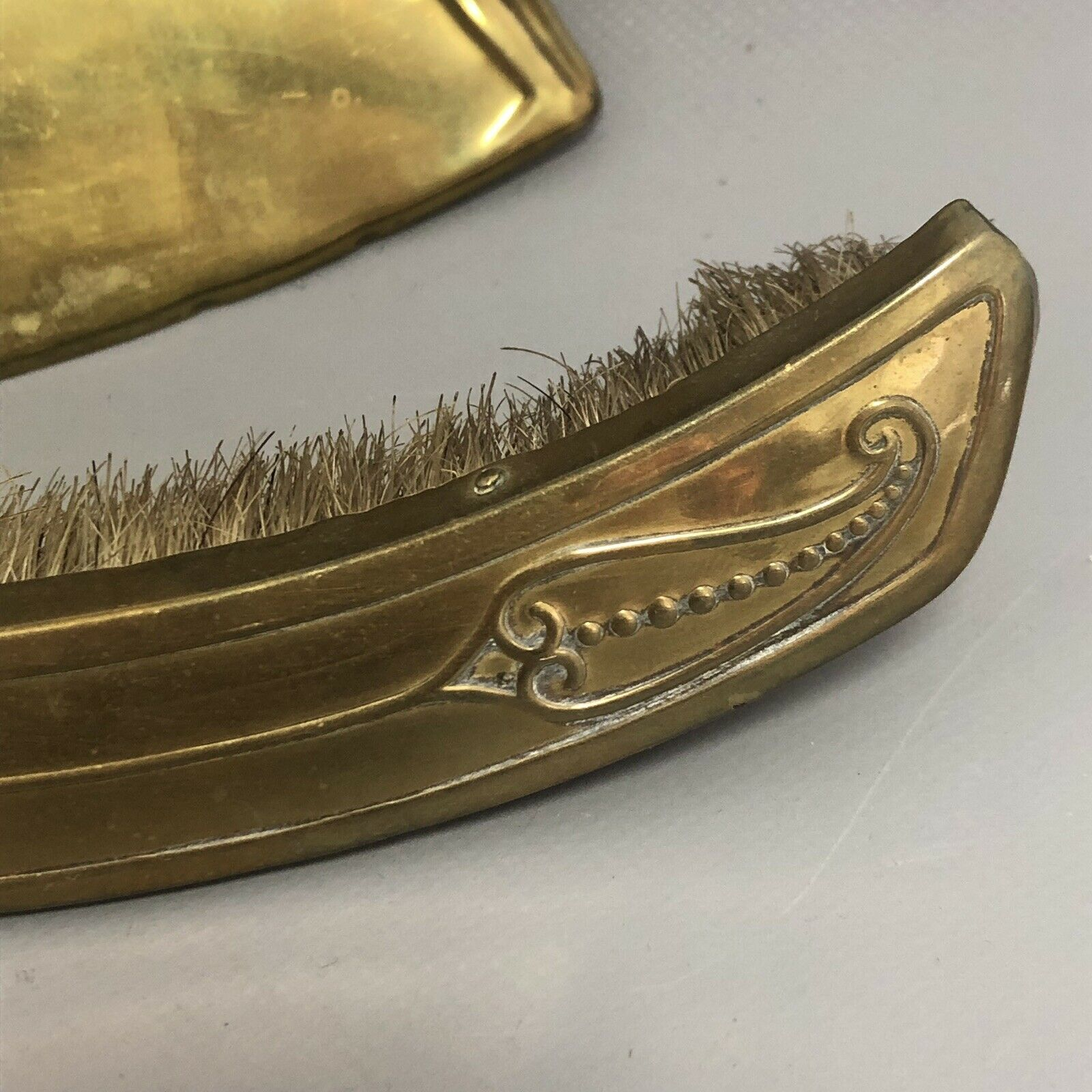 Lot 4 - Antique Edwardian Arts and Crafts Art Nouveau Brass Crumb Tray & Brush