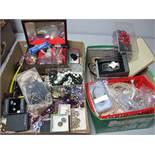 A Mixed Lot of Assorted Costume Jewellery, including beads, imitation pearls, jewellery box,
