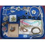 Costume Brooches, imitation pearls, etc:- One Tray