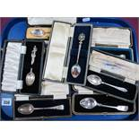 Seven Assorted Hallmarked Silver Spoons, (various makers and dates) in associated cases, together