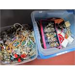 A Quantity of Costume Jewellery, including bead necklaces, rings, earrings, bracelets etc:- One Box