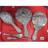 A Decorative Hallmarked Silver Backed Hair Brush, allover detailed in relief; together with a
